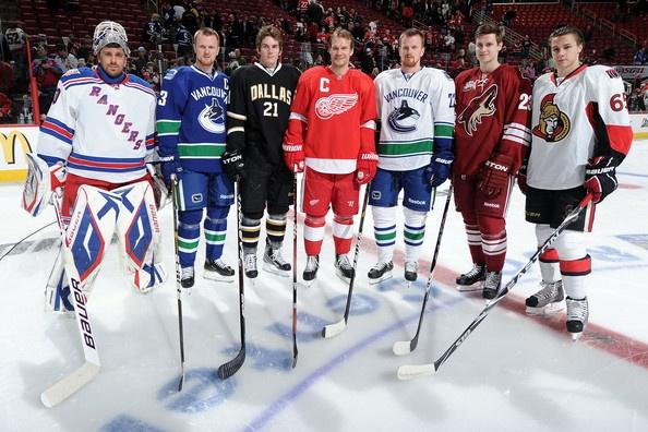 Fav Swedes: (L-R) Henrik Lundqvist, Henrik Sedin, Loui Eriksson, Nicklas Lidstrom, Daniel Sedin, Oliver Ekman-Larsson & Erik Karlsson @ 2011 NHL All-Star Weekend