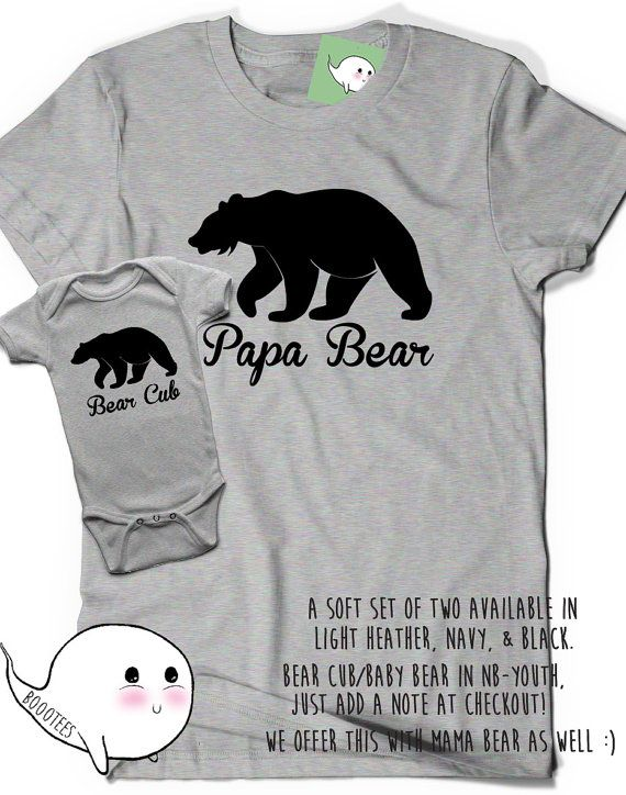 Soft Papa Baby Bear First Fathers Day Gift Ideas Matching Shirts Set Cub T-Shirt Tee Infant Toddler Gift New Dad Baby Shower Daddy  Dad Cute