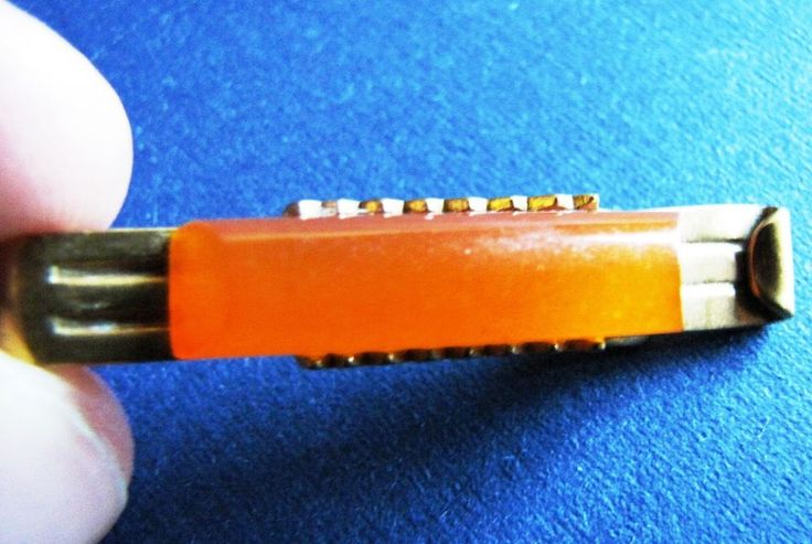 Natural Baltic Amber 6 gr Orange RUSSIA VINTAGE TIE CLIP gold plaked Marked ЯК7 #