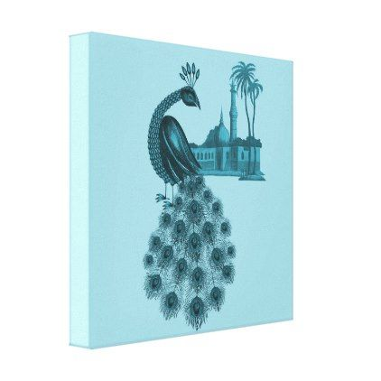 Romantic Blue Peacock Canvas Print - blue gifts style giftidea diy cyo