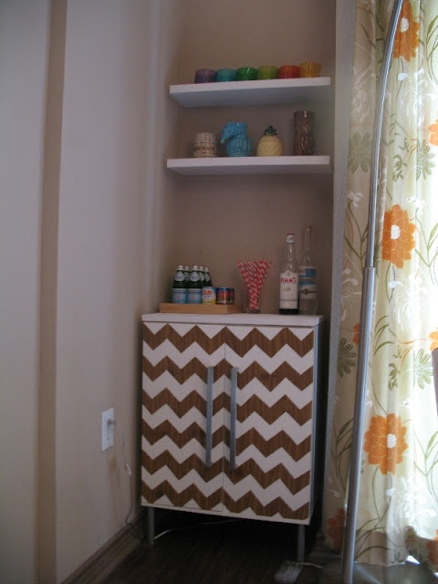 Bar: Chevron Patterns, Wood Grains, Minis Bar, Contact Paper, Chevron Bar, Ikea Hacks, Ikea Hackers, Bar Cabinets, Chevron Stripes