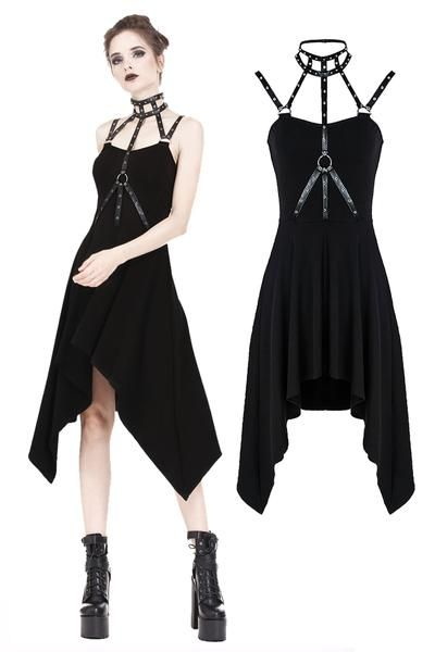 ec773f0a845c DW196 Punk dress with eyelet and rivet straps bounding neck designs