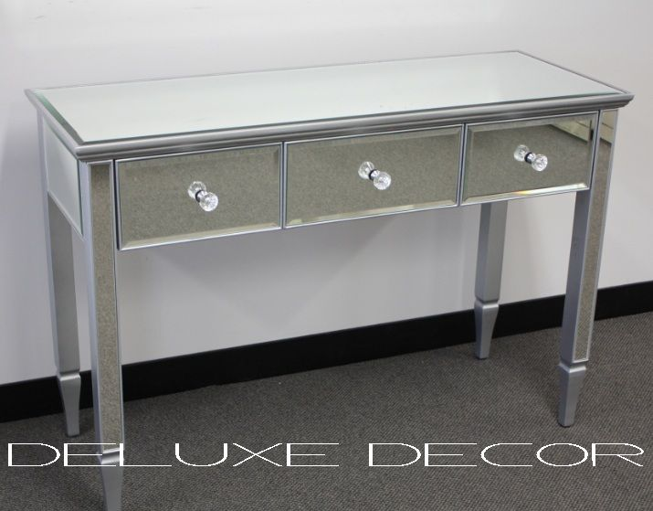 Clair Silver Mirrored Mirror 3 Drawer Console Dressing Table 2303S http://deluxedecor.com.au/products-page/clair-collection/clair-silver-mirrored-mirror-3-drawer-console-dressing-table-2303s/