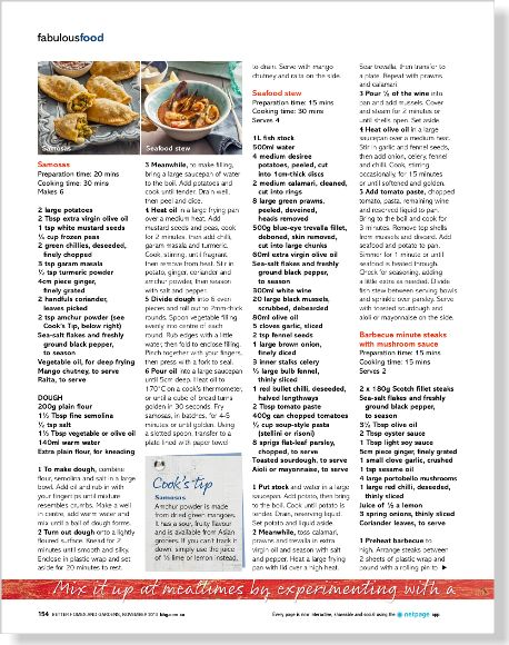 Foodie heaven: Recipes. Clipped from Better Homes and Gardens using Netpage.
