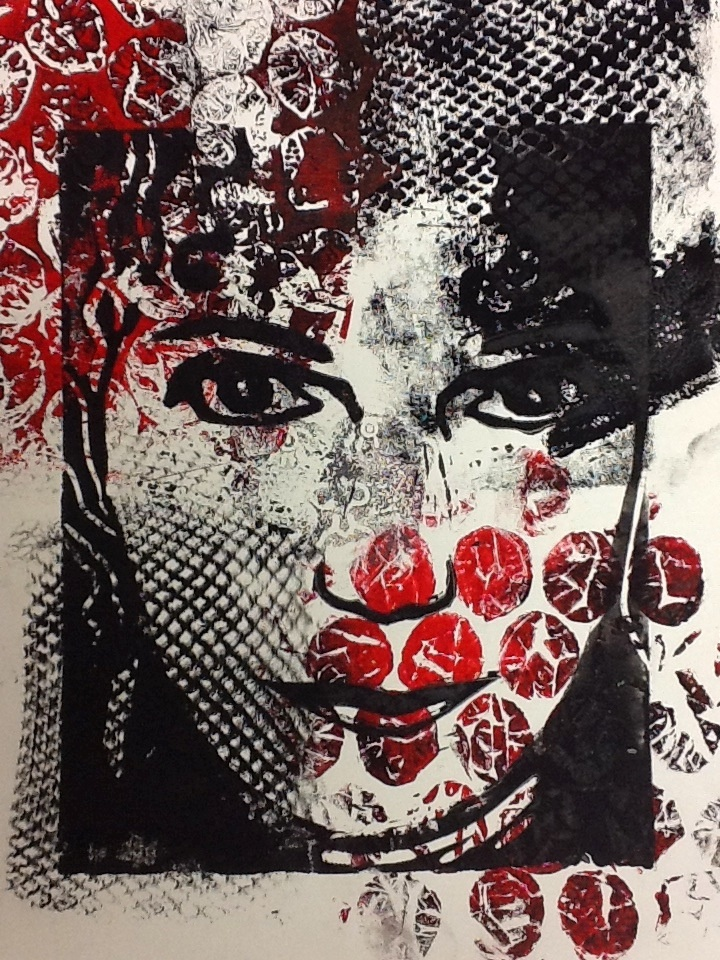 """A sample project for my high school class- I first took a photo of myself. I used Photoshop to """"Posterize"""" then traced onto stencil paper and cut out the stencil. I printed pattern in the background with bubble wrap and fish net stockings. I then put the stencil over it and used a sponge and paint to print it."""