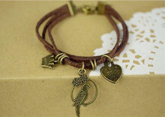 Bird Bracelet-Leather-Brass charm-elegant design from Picsity.com