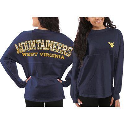 West Virginia Mountaineers Women's Aztec Sweeper Long Sleeve Oversized Top - Navy Blue