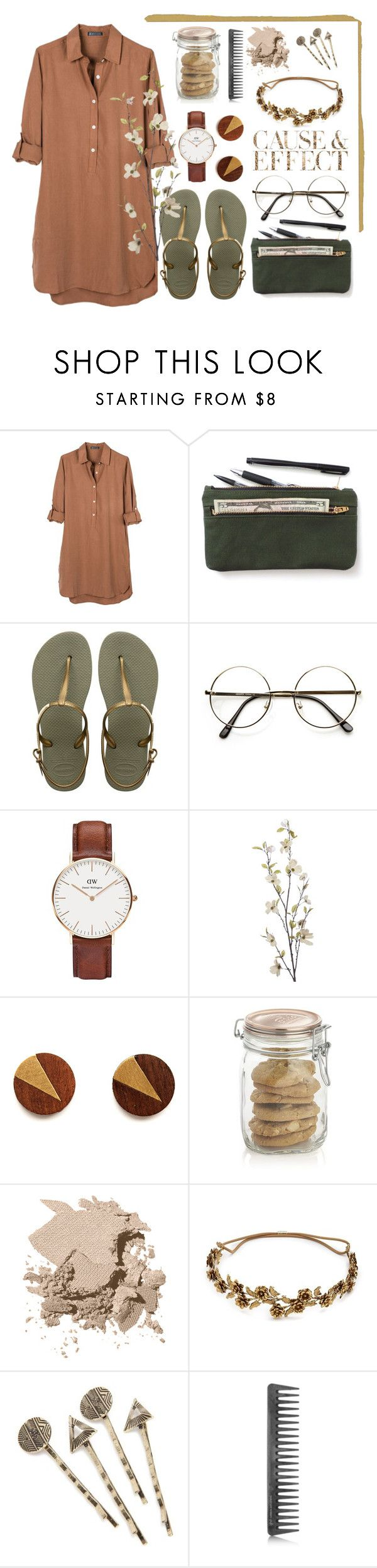 """Banbury Tencel dress"" by amn-d ❤ liked on Polyvore featuring United by Blue, Havaianas, ZeroUV, Daniel Wellington, Pier 1 Imports, Crate and Barrel, Bobbi Brown Cosmetics, Envi:, Jennifer Behr and Red Camel"