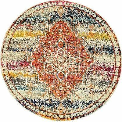 World Menagerie Newton Orange Area Rug Rug Size: Round 4'