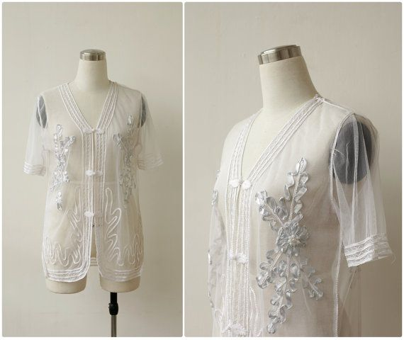 Sheer White Top Bridal Jacket Beaded Embroidered Evening