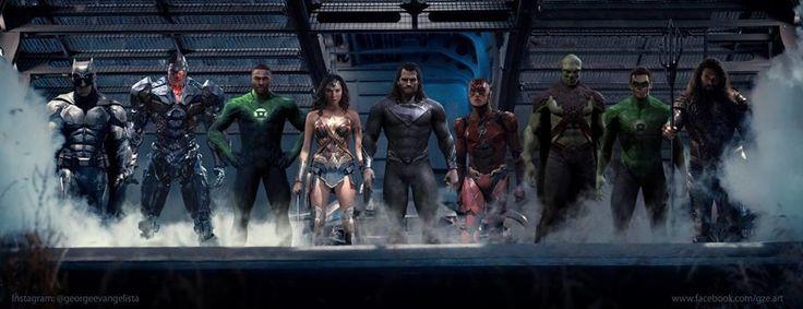 Liga da Justiça - Fã cria arte épica adicionando Lanterna Verde e Caçador de Marte à equipe! - Legião dos Heróis