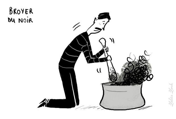 Broyer du noir : être déprimé, triste  (milieu XVIIIe siècle) Cette locution ne se comprend globalement que par l'emploi, habituel, de noir traditionnellement associé à la mélancolie, à la tristesse ; mais l'emploi du verbe broyer demeure inexpliqué. L'origine est sans doute à chercher dans l'argot des peintres ou des chimistes, mais les valeurs figurées de broyer (être broyé «écrasé») ont probablement motivé le succès de l'expression.