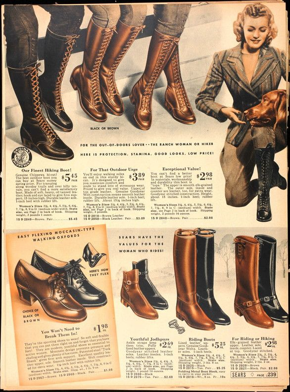 hair styling looks like the 40s, but not sure from when this ad is- but liking the boots anyway!