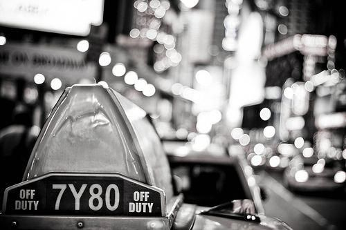 Taxi light in black & white, Times Square @ New York City, USA by °Doudou°, via Flickr