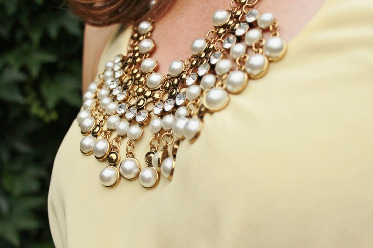 Yellow Dress with Statement Necklace - more photos on blog
