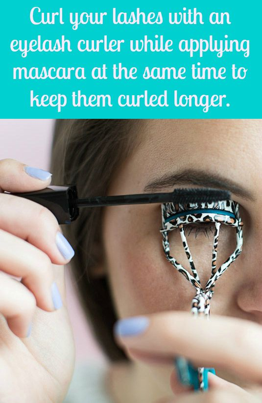 The wetness of the product can make the curl fall out of your lashes, so reinforce them with a curler as you apply your first coat.