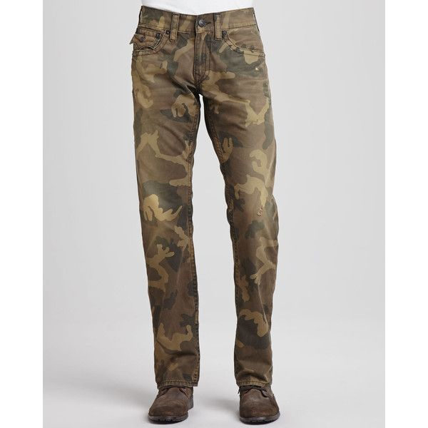 True Religion Men's Ricky Distressed Camouflage Jeans ($198) ❤ liked on Polyvore featuring men's fashion, men's clothing, men's jeans, mens camouflage jeans, mens ripped jeans, mens zipper jeans, american eagle mens jeans and mens jeans