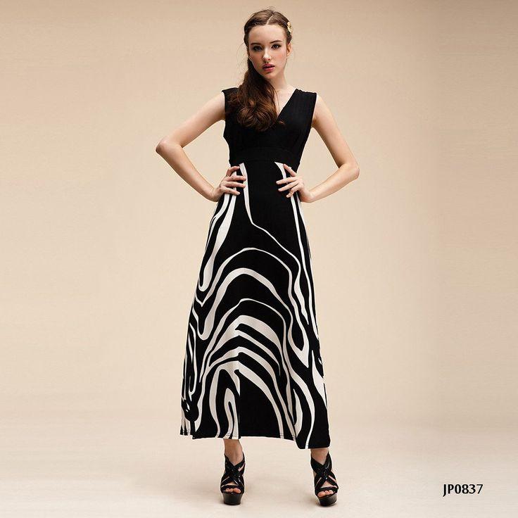 Amazon.co.jp: JP0837 Vネック マキシ丈 ワンピース マキシ ワンピ レディース ロング丈 ドレス ノースリーブ 3714070205 (ブラック): 服&ファッション小物