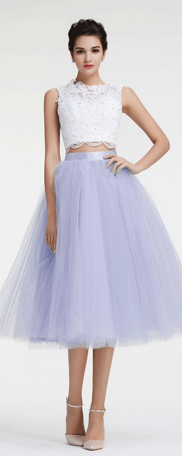 Lavender ball gown prom dresses white two piece prom dress tea length homecoming dresses
