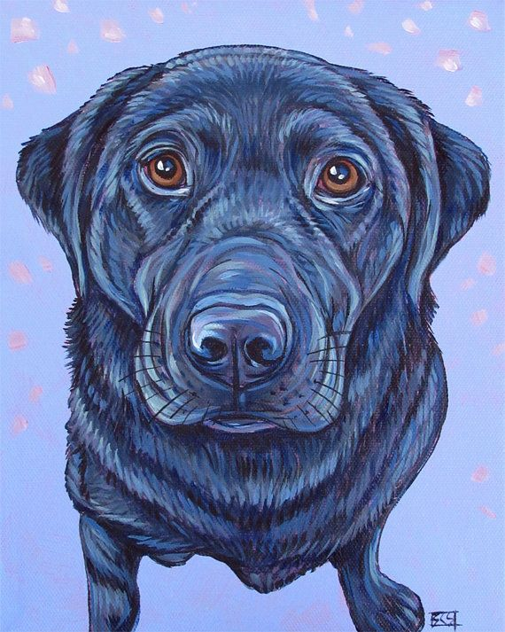 """8"""" x 10"""" Custom Pet Portrait Painting in Acrylic Paint on Ready to Hang Canvas of One Dog, Cat, or Other Animal Pet Gift or Wall Art. Black Lab sample from Pet Portraits by Bethany on Etsy"""
