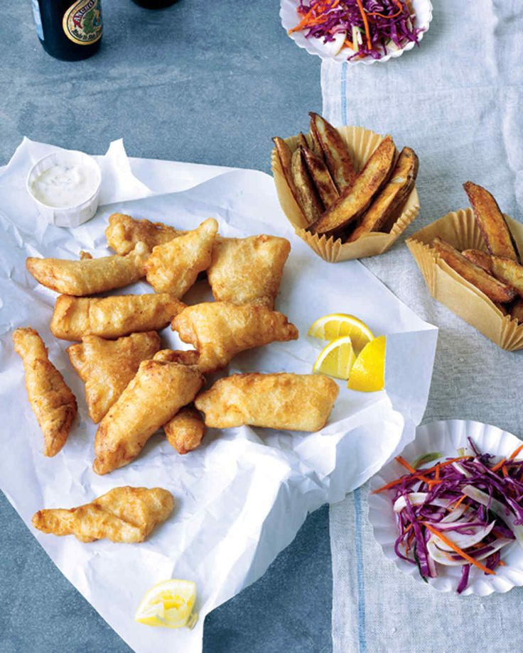 Beer-Battered Fish | Martha Stewart Living - Served with a cold beer of Dad's choice and crisp fries, this beer-battered fish makes for a casual and satisfying Father's Day dinner.
