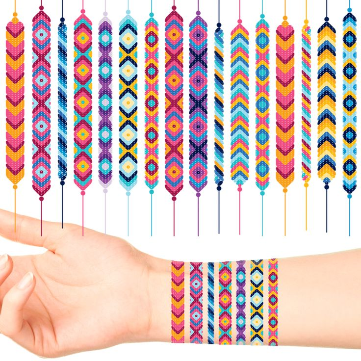 Friendship Bracelet Temporary Tattoos (60 pack) #599