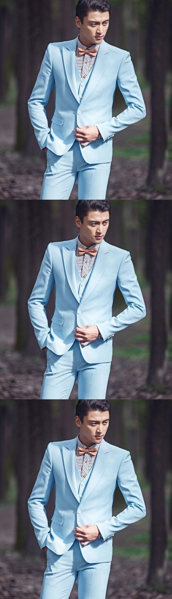 Classic Style One Button Sky Blue Groom Tuxedos Groomsmen Men's Wedding Prom Suits Bridegroom (Jacket+Pants+Vest+Tie)