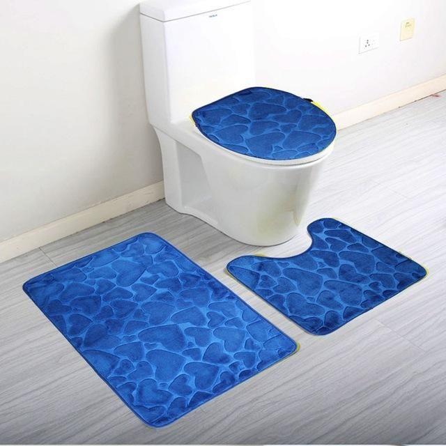 3Pcs/Pack Soft Coral Fleece Bath Mat Pedestal Mat Toilet Washable Floor Rugs Carpets Set Home Bathroom Door Floor Mat Pad