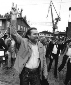 Lech Walesa at the Gdansk Shipyards