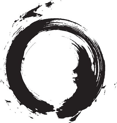 Enso – Circular brush stroke (Japanese zen circle calligraphy n°6) vector art illustration