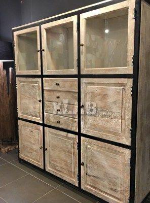 Credenza in stile industriale in legno con vetrina Alisya ...