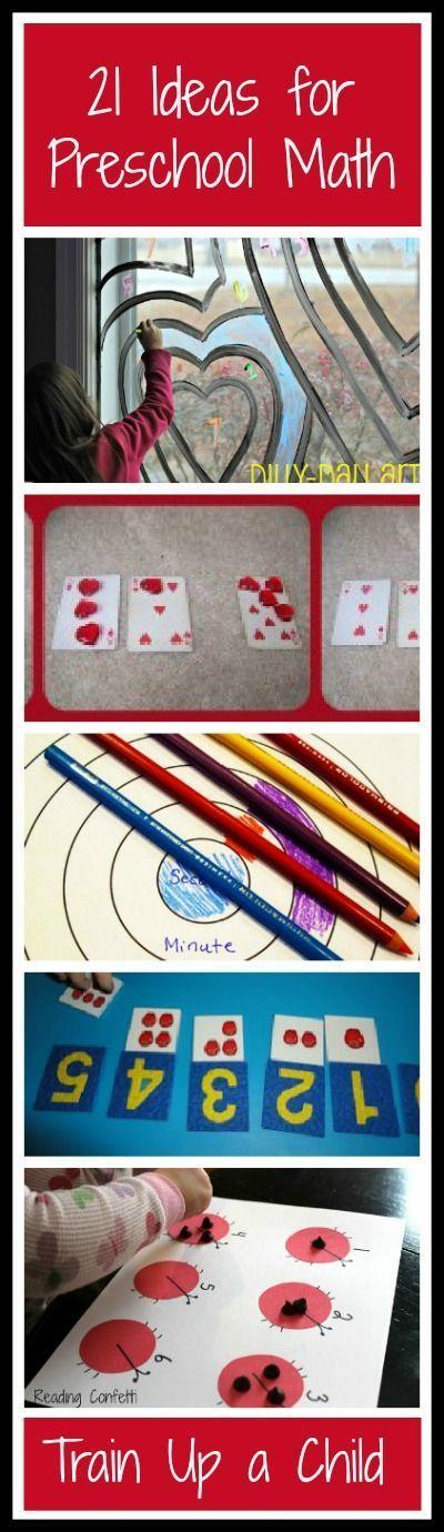 21 Hands on Ideas for Preschool Math. Blog has tons of fun ideas!