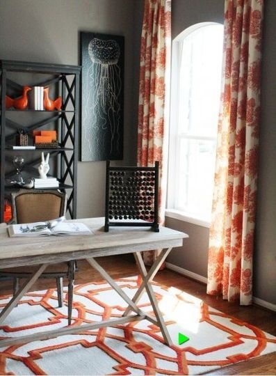 gray and orange inspiration- rug, curtains: Decor, Ideas, Orange, Curtains, Living Room, Colors Schemes, Rugs, Home Offices, Rooms
