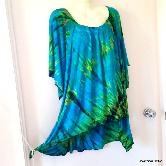 Plus Sundress Top Rayon Tie Dye Size 22 24 26 28 Dip Hem Soft  Flowing Fabric