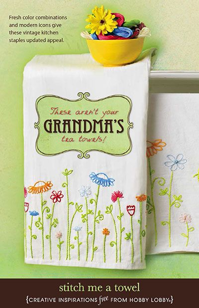 Fresh color combinations and modern icons give these vintage kitchen staples updated appeal. These aren't your Grandma's tea towels!