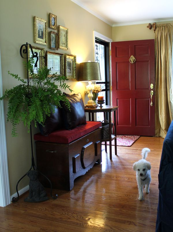 "Divide + Conquer: ""How I Faked a Foyer"" Love the red door!"