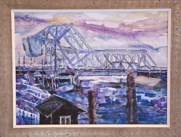 Blue Bridge, Victoria BC Water Media & Collage  -  2013