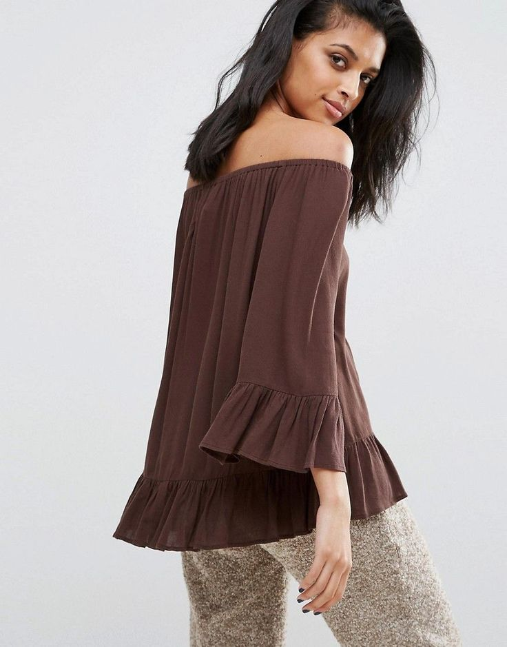 Minimum Off The Shoulder Floaty Bardot Top - Brown