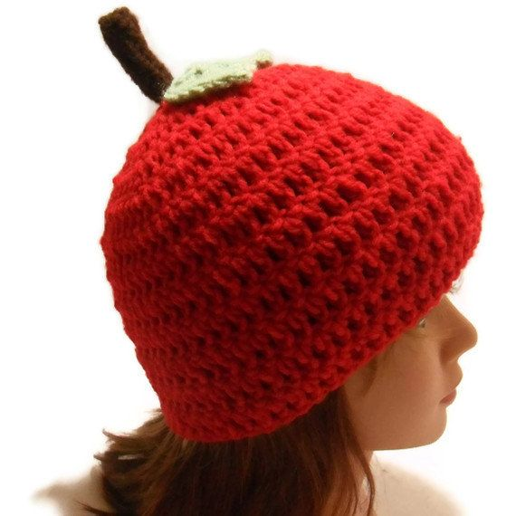 Crochet Red Apple Beanie Hat with Stem and Leaf by AddSomeStitches #HEPteam