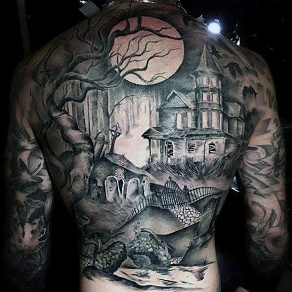 Mens Full Back Greyish Haunted House Tattoo On A Full Moon Night