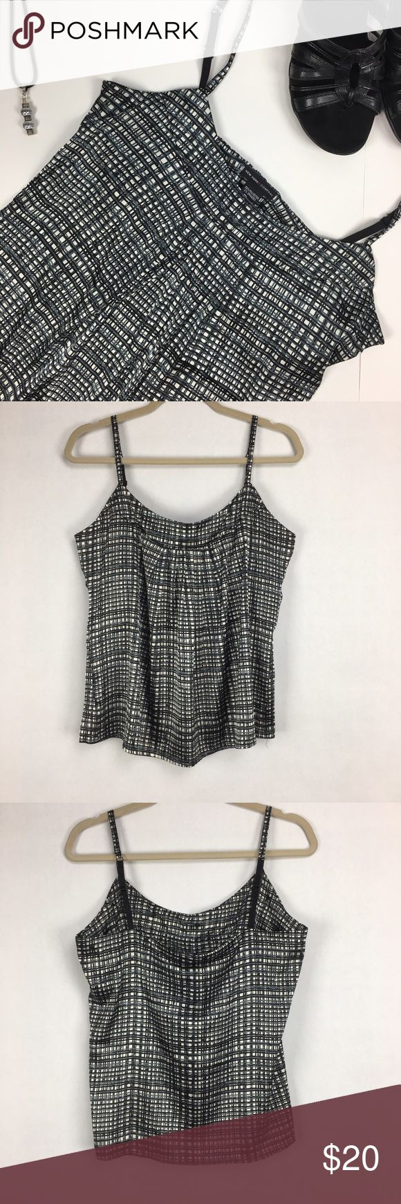 New York and Company checked camisole NY&Co checkered tank top. Adjustable straps. Built in shelf bra, no padding. Size medium. 98% polyester 2% spandex. New York & Company Tops Camisoles