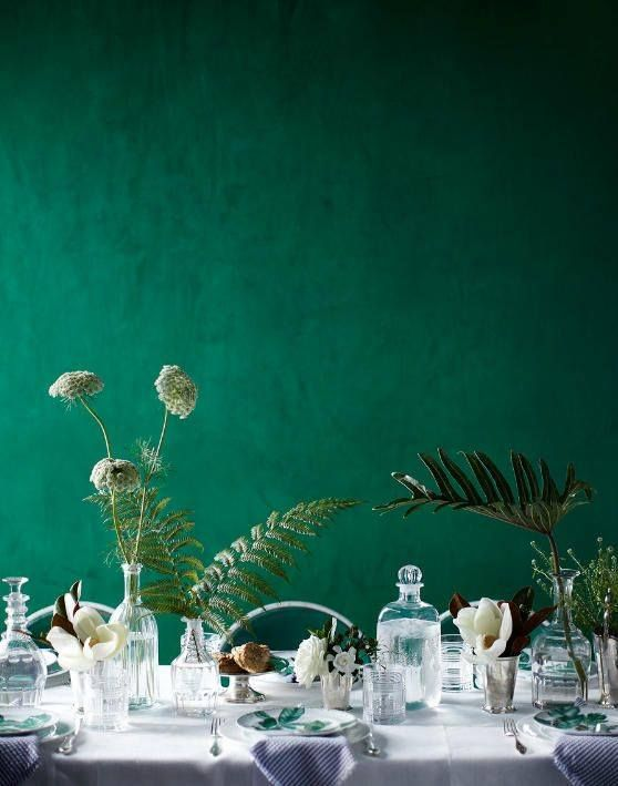 #Emerald #green #painted walls #interior #design: Tables Sets, Wall Colour, Green Interiors, Green Wall, Vintage Bottle, Emeralds Green, Wall Color, Paintings Wall, Green Wedding