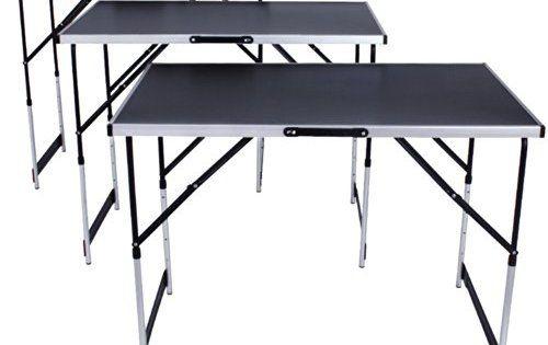 TecTake Tables à tapisser en aluminium ensemble de 3 tables tréteaux table de travail 300x60cm pliante hauteur réglable en hauteur Table de…