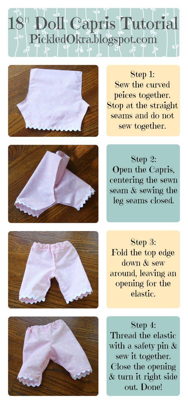 "Free & Easy Pattern & Tutorial for an 18"" American Girl Doll's Capri Pants | Pickled Okra: | Bloglovin'"