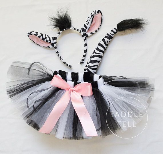 Pre Sale ZEBRA Halloween Costume Tutu Includes by taddletellshop