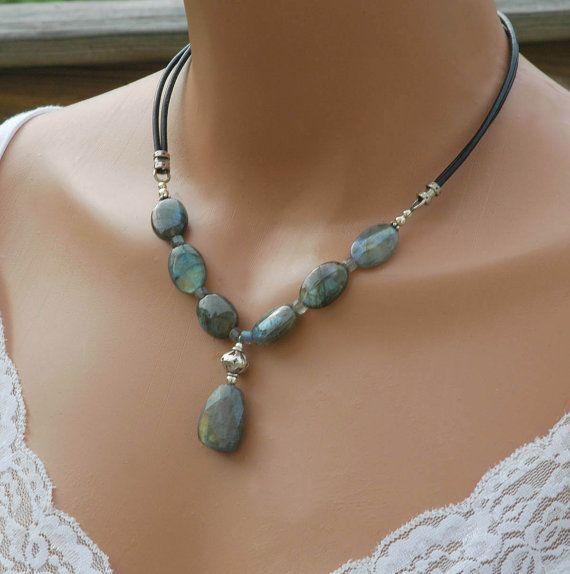 Leather & Labradorite Necklace Black Leather.  Beautiful piece.