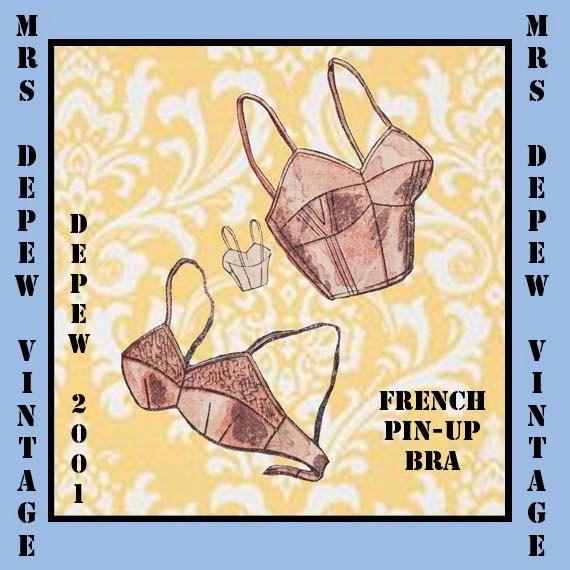 Vintage Sewing Pattern French Ladies 1950's Pinup Bra PDF Printable Multisize Depew 2001. $7.50, via Etsy.
