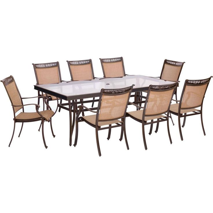 "9pc Dining Set: 42x84""glass top tbl, 8 sling dining chairs, includes cover"