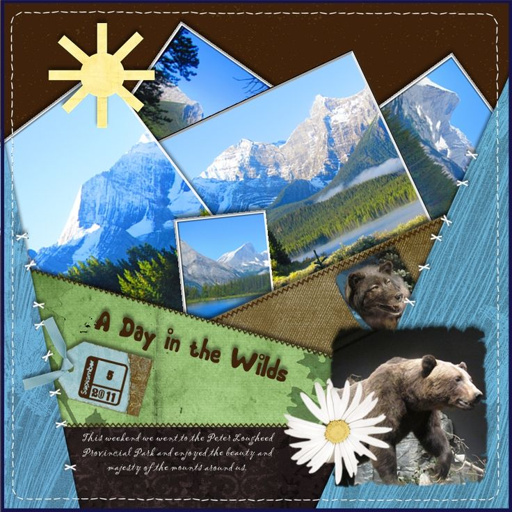 scrapbook layouts using stamps | Day in the Wilds uses cropping techniques, clear rubber stamps, tags ...