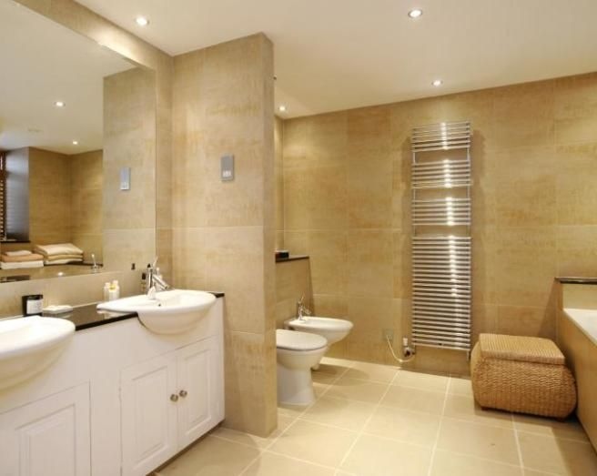Photo of beige bathroom with mirror tiles bathroom ideas for Beige tile bathroom ideas